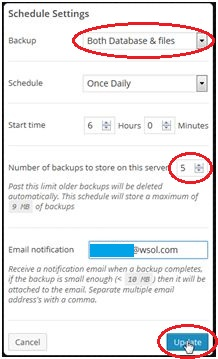 WP Backup Settings