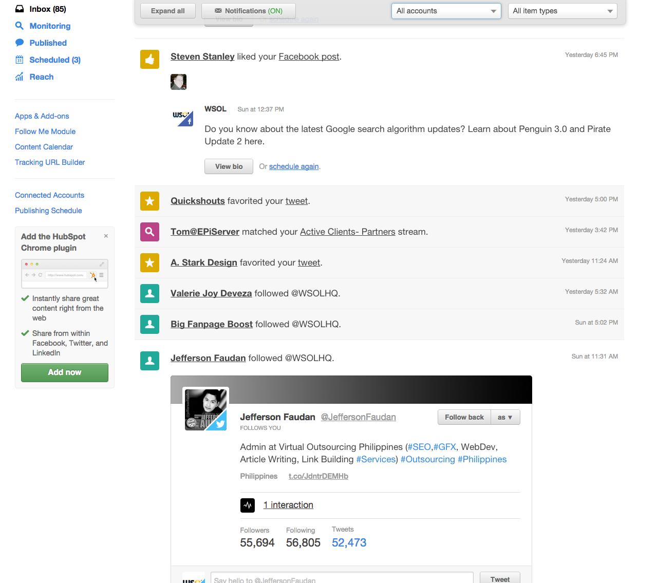 Social Inbox Color Codes