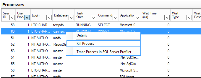 SQL Server Activity Monitor 2 Kill