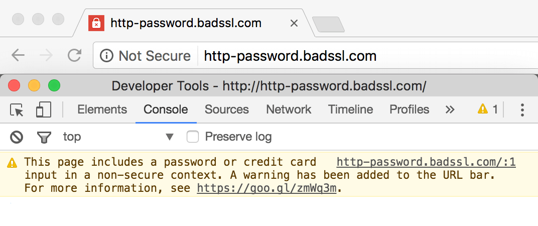 Note secure warning message shown to users