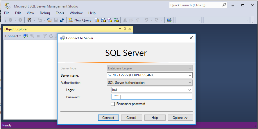 Connect to your instance with a remote copy of SSMS using a server's IP address