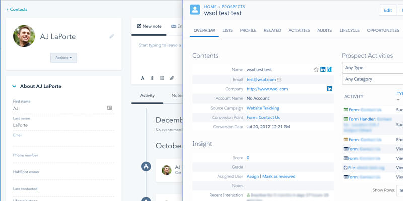HubSpot (left) and Pardot's (right) Contact Detail Screen