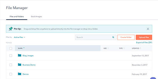 HubSpot's File Manager