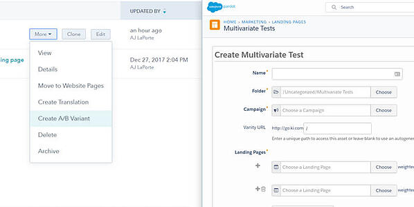 HubSpot (left) and Pardot's (right) Multivariant A/B Testing
