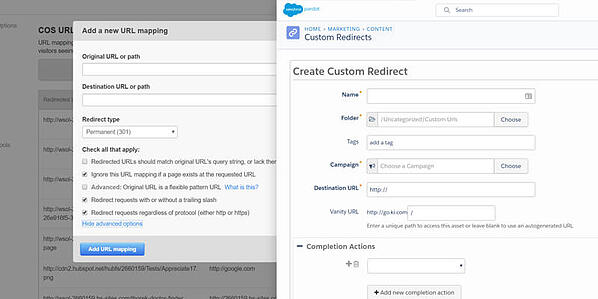 HubSpot (left) and Pardot's (right) URL Redirect Areas