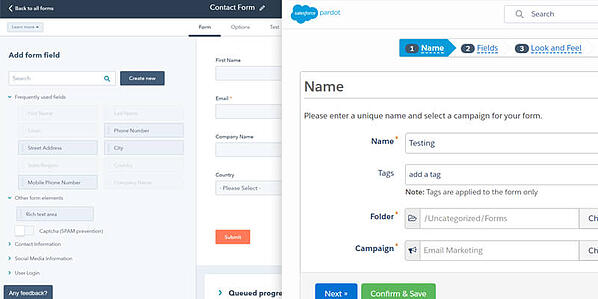 HubSpot (left) and Pardot's (right) Form Builders