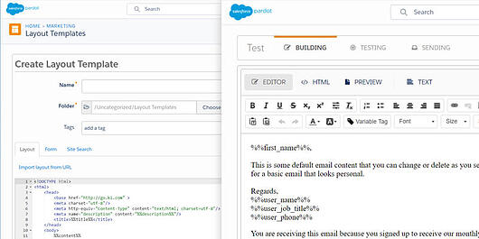 Pardot's Layout and Email Template Editors