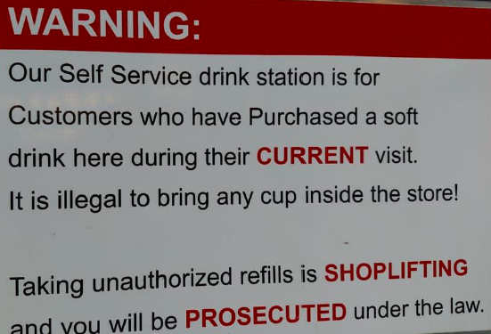 It is illegal to bring any cup inside our store.