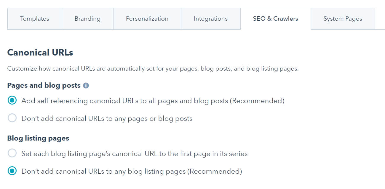 Canonical options in HubSpot's settings