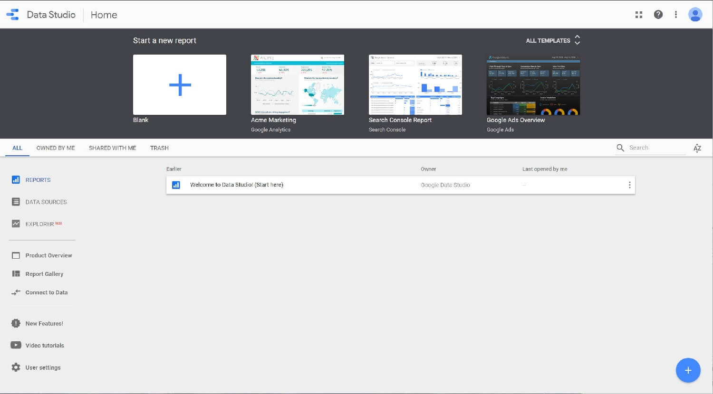 Google Data Studio Home Dashboard