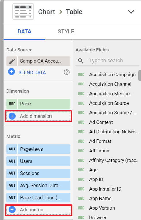 Add Dimensions and Metrics buttons