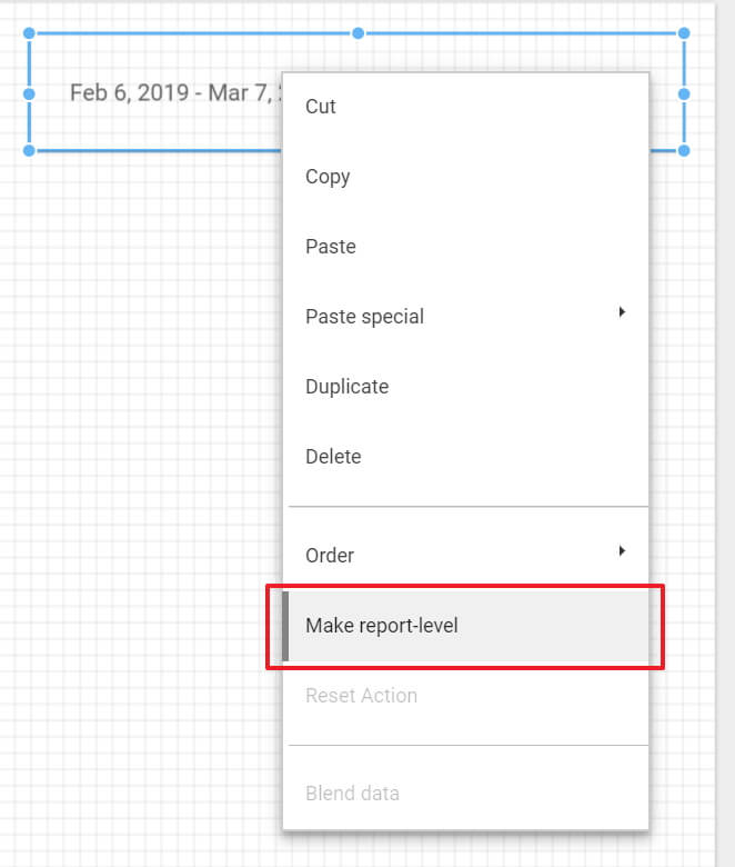 Making a control report-level