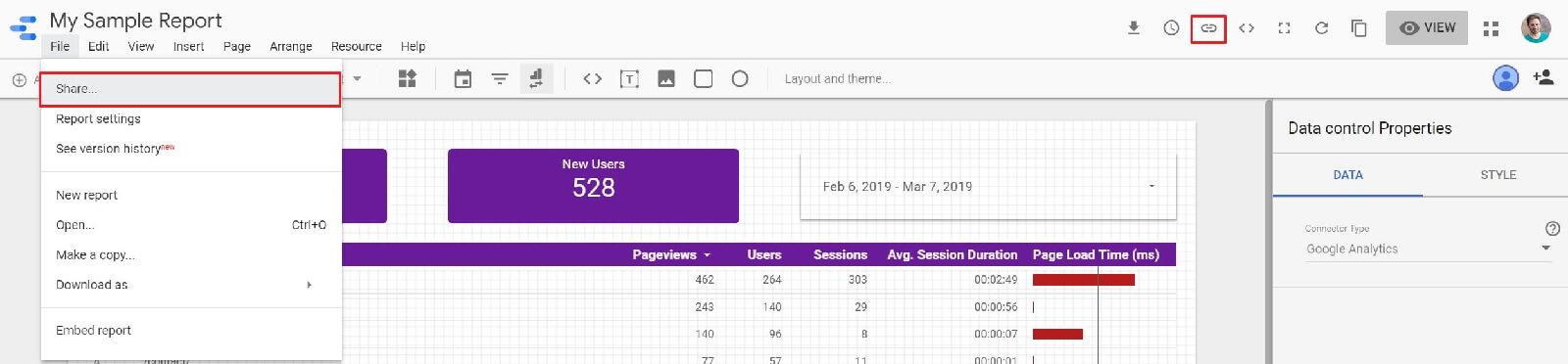 Sharing the Data Studio Report