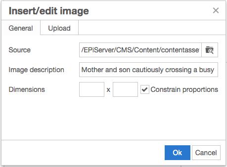 Insert/Edit Image modal in Episerver where the Image Description is assigned