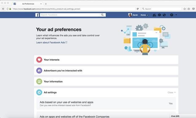 Facebook Your Ad Preferences Page