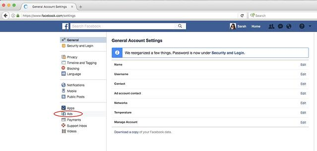 Facebook General Account Settings Page