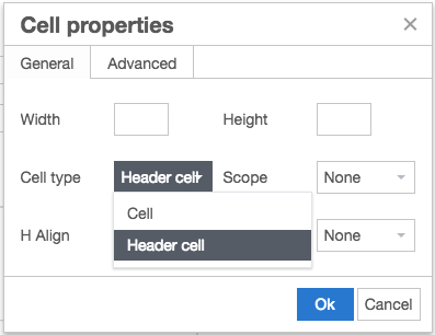 Table Cell Properties modal in Episerver - Set the Cell Type to Header Cell