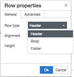 Table Row Properties modal in Episerver - Set the Row Type as Header