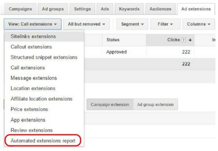 AdWords View Automated Extensions