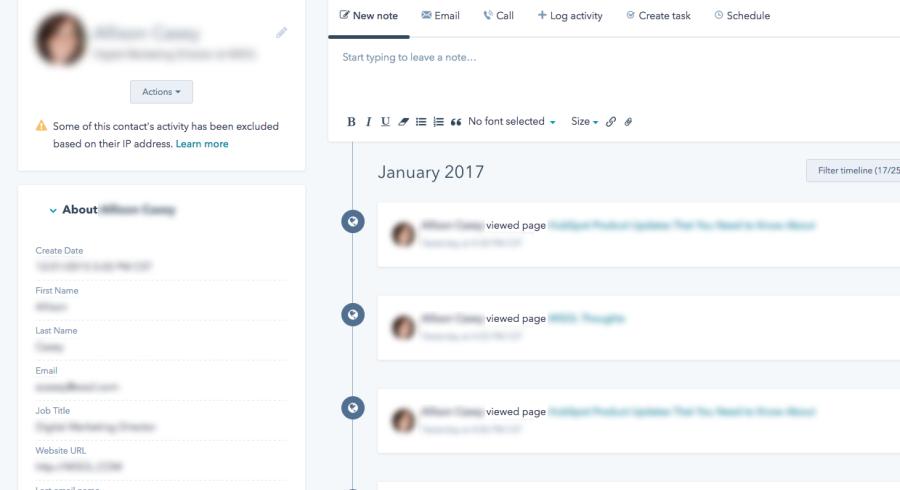 HubSpot Contact Record