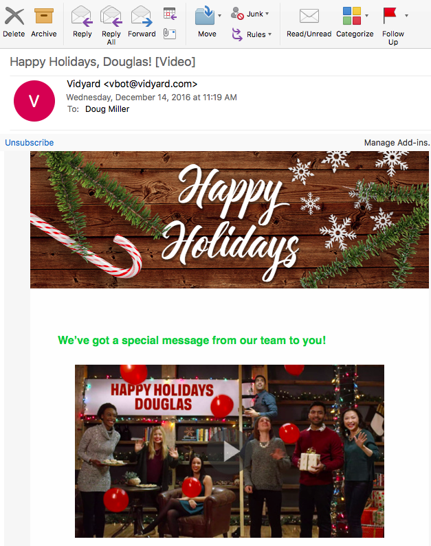 Vidyard personalized video email