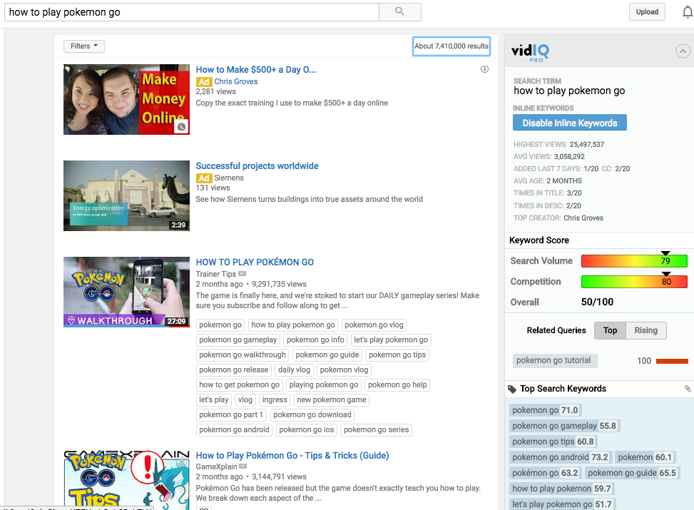 YouTube Search Results Page (with added insight from VidIQ) - Notice the Ads at the top of the page
