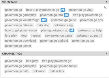 Detail on VidIQ data about tags and ranking for this Pokemon Go related video.