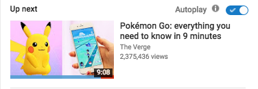 "An example of an ""up next"" video in the autoplay section of a YouTube page for a Pokemon Go related video."