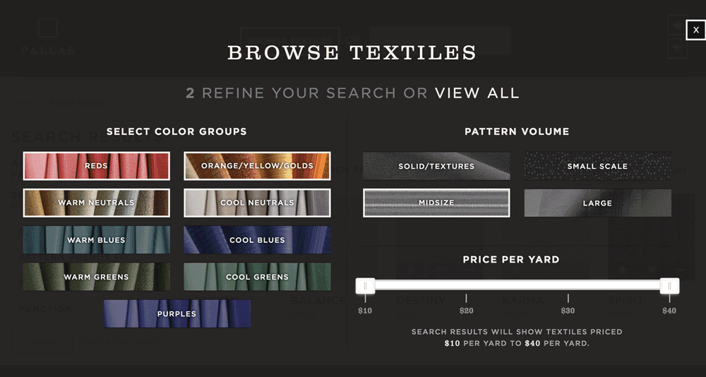 Interactive textile search